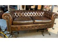 Brown leather Chesterfield sofa UK DELIVERY