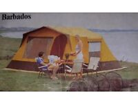 Tent with camping gear (gas stove, lamp, saucepans, gas, heaters)