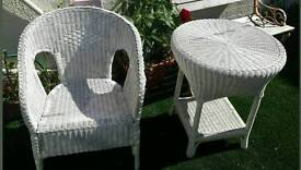 White wicker conservatory chair and table