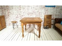 Extending Rustic Farmhouse Turned Leg Dining Kitchen Table Solid Hardwood - Space Saving Design