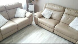 bargain!!!! Real leather electric reclining sofas