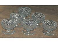 6 Vintage Grapefruit Glass Bowls