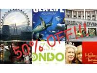 50% OFF!!! London Zoo/London Eye/Madame Tussaud's/SeaLife Aquarium/Shrek's Adventure/London Dungeon