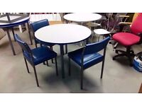 Round table with 3 blue leather chairs