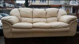 Cream Leather Sofa Suite Good Condition One 3 Seater Two 1 Seaters Quick Sale