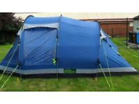 5 berth, sewn in ground sheet, vents,fly nets, 2 pods +child pod all removable, waterproof, ex con.