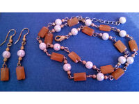 pearl and carnelian gemstone necklace