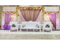 Wedding Stage Hire From £450. Chair Covers, Center Pieces, Fur Carpet ..etc..