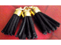 3 New Matching 35mm Black and Gold Pendant Charm Tassels.