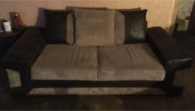 3 seater brown/beige fabric sofa/couch/suite
