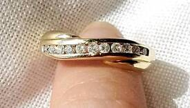 9KT Solid Yellow Gold Diamond .25 Crossover Ring Ladies Sz M/N