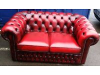 1 x Red Chesterfield Two Seater Sofa, Pub / Dining/ Furniture