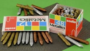 12-SCOLA-METALLIC-CRAYONS-GOLD-SILVER-BRONZE-FOR-BRASS-RUBBING-EMBOSSING-CRAFT