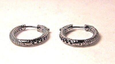 STERLING SILVER OVAL HOOP EARRINGS WITH OUT AND IN ROWS OF CUBIC ZIRCONIA STONES