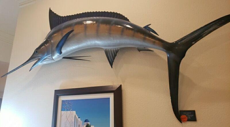 "99"" Blue Marlin Fish Mount Vintage Catch Release 115 Lbs Cayman Islands one side"