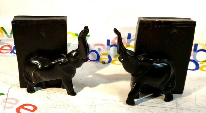 """Vintage Beautiful Hand Carved Wood Elephant BookEnd pair 4"""" wide x 4"""" tall"""