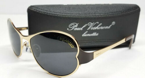AUTHENTIC PAUL VOSHERONT SUNGLASSES ITALY Polarized Gold w/ Hard Case NEW