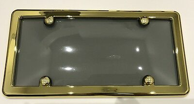 UNBREAKABLE Tinted Smoke License Plate Shield Cover + GOLD Frame for BENTLEY