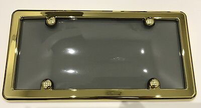 UNBREAKABLE Tinted Smoke License Plate Shield Cover  GOLD Frame for NISSAN
