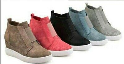 Women Hidden Wedge Mid Heel Ankle Boots Sneakers Trainers High Top Shoes Size 10