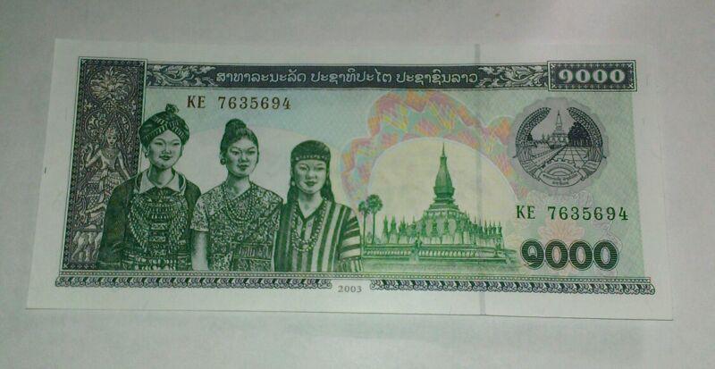 2003 LAO PEOPLES DEMOCRATIC REPUBLIC 1,000 KIP BANKNOTE # P32A CRISP UNC NOTE