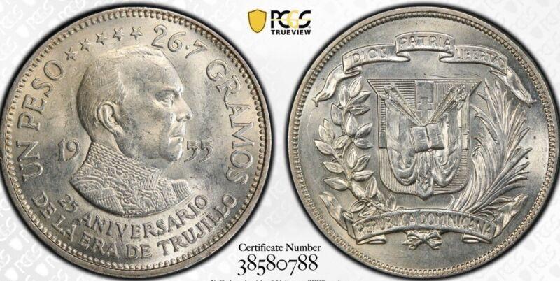 Dominican Republic Peso 1955 Silver PCGS MS 64 TRUJILLO regime 25th Anniversary