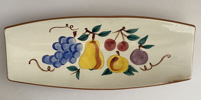 Vintage Stangl Pottery Relish Dish Fruit Pattern Rectangle Pear Grape