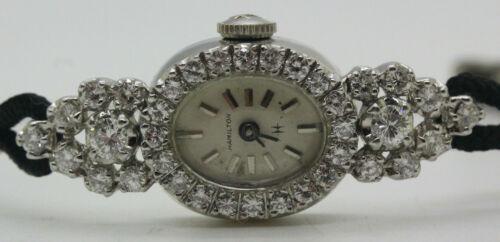 STUNNING VINTAGE LADIES HAMILTON 14 K WHITE GOLD 1.5 CT T.W. DIAMOND WATCH