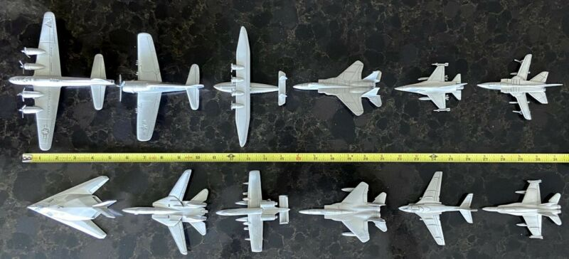 Vintage Collectable Danbury Mint Pewter Airplanes - lot of 12 - Used
