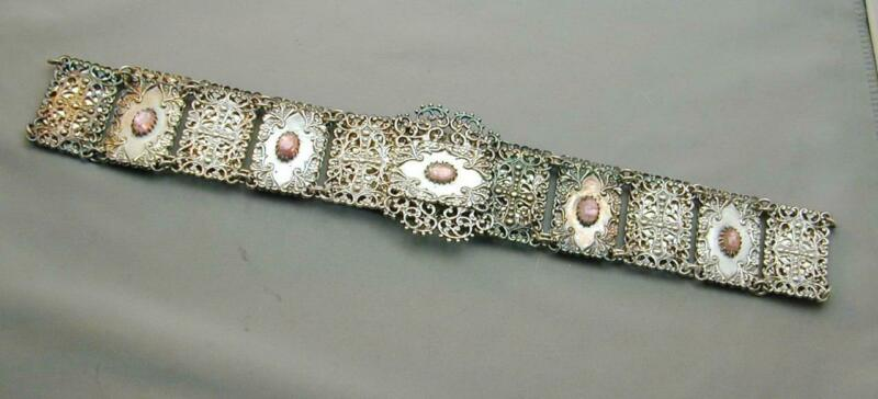 RARE Vintage Silver Repousse Jeweled Link Belt Very Unusual
