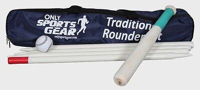 OSG Traditional Rounders Set Outdoor Family Garden Games Bat Ball Stumps & Bag