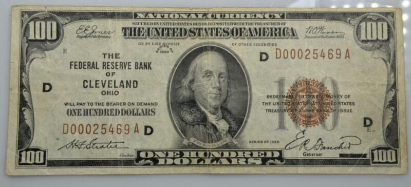 1929 Federal Reserve Bank of Cleveland OH $100 Note FR#1890-D D00025469A