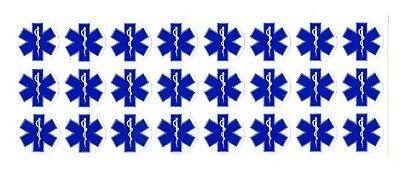 Star Of Life Ems Emt Medic Firefighter Quantity 24 1 Diameter Stickers
