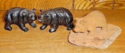 3 Small Carved Wood Bear Figurines for sale  Shipping to Canada