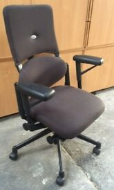 6 - STEELCASE PLEASE EXECUTIVE CHAIRS - IN BROWN - VERY GOOD QUALITY