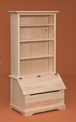 AMISH Unfinished Pine ~ TOY BLANKET CHEST STORAGE with BOOKCASE TOP Country