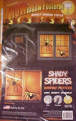 Halloween Backlit Window Posters (Shady Spiders WOW Window Poster 3' x 5' Backlit Halloween Poster Set NEW)
