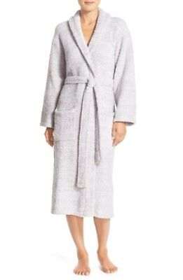 NWOT Barefoot Dreams CozyChic Robe In Light Gray/ White Size (Barefoot Dreams Microfiber Robe)
