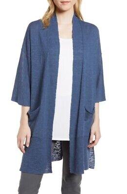 New Eileen Fisher Organic Linen & Cotton Kimono Cardigan Denim Blue Size XXS/XS