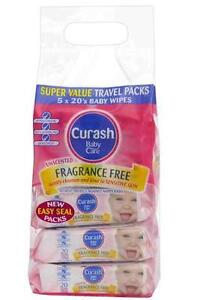 New-5-Packs-Curash-Travel-Wipes-Fragrance-Free-Dermatologically-Tested-Soap-Free