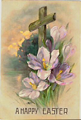 Vintage HAPPY EASTER Cross Sunset Crocus Flowers paint strokes embossed postcard