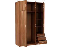 Bradford 3 Door 3 Drawer wardrobe with top box - Walnut