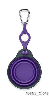 NEW Purple Bottle Holder with Travel Cup Bowl for Dogs with Carabiner by Dexas