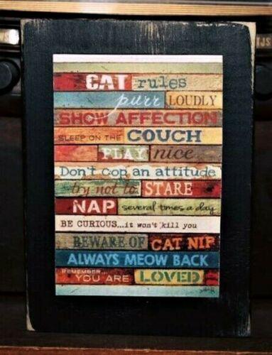 Cat Rules Kitty Primitive Rustic Farmhouse Sign Block Shelf Sitter 3.5X4.5
