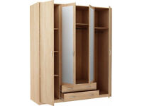Bradford 4 Door 2 Drawer Mirrored Wardrobe - Oak