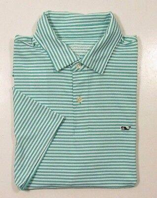 Vineyard Vines Performance Mens Aquinnah Aqua Green Striped Stretch Polo Shirt