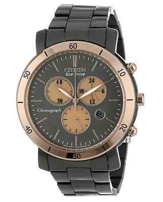 NWT Unisex Citizen FB1348-50E Eco-Drive Black Stainless Steel Chronograph Watch