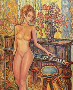 """"""" Flowers With Piano """" oil painting on canvas"""