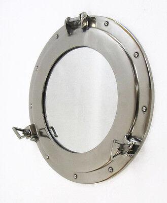 """Aluminum Chrome Finish 15"""" Ship's Cabin Porthole Mirror Round Nautical Decor New"""