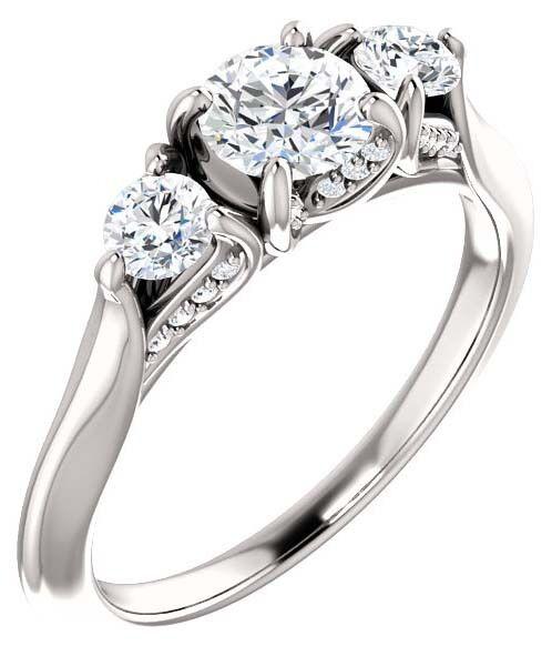 GIA 1.00 carat center Round Diamond Engagement Wedding 14k White Gold Ring F SI2
